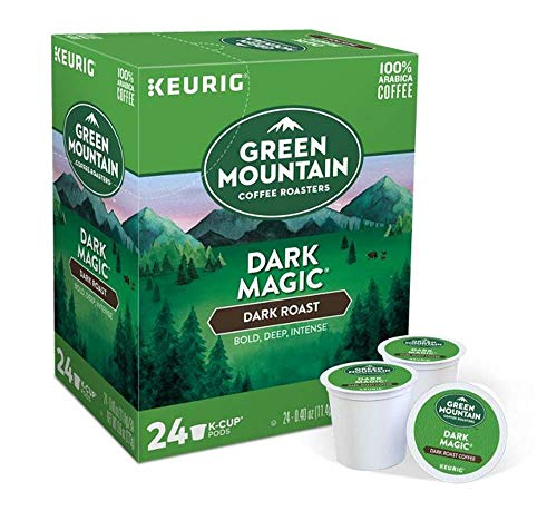 Green Mountain Coffee Pods K-Cups For Keurig Machines Flavored K Cup (All Count Fresh Capsules) Light / Medium / Dark Roast Long Expiry ALL FLAVORS (24 K-Cups Dark Magic Coffee)