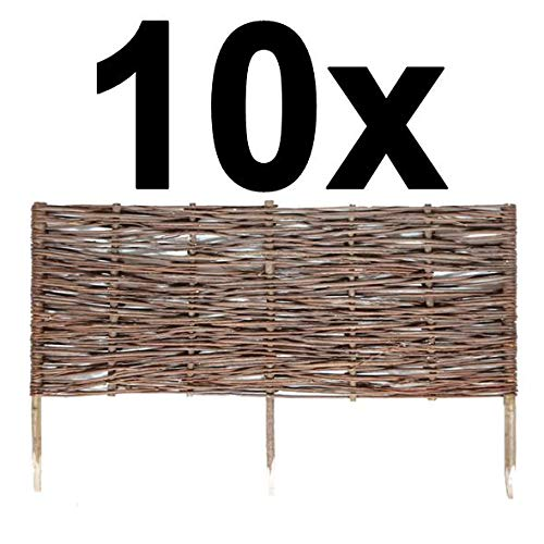 BOGATECO 10 x Beeteinfassung aus Weide   100 cm Lang & 40 cm Hoch   Holz-Zaun Rasenkante   Weiden-Zaun Steckzaun Perfekt für den Garten als Weg-Abgrenzung