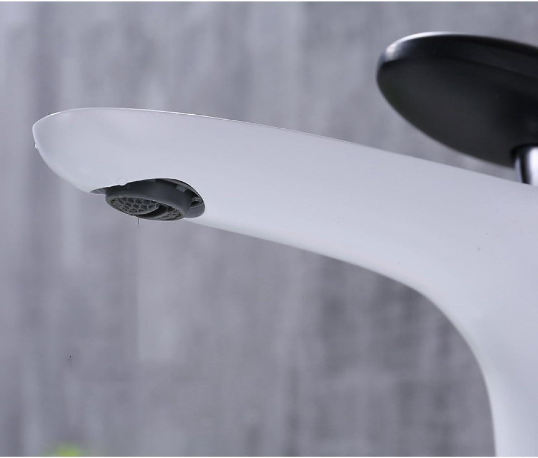 GZF Bathroom Sink Taps Faucet copper white paint faucet toilet hot and cold single handle single hole basin faucet