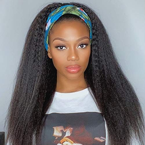 LUVME Hair Kinky Straight Headband Wig Non Lace Front Human Hair Wig For Black Women Brazilian Virgin Hair 150% Density Easily Install For Beginner (16 Inch)