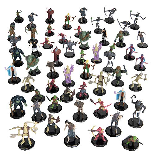 56 Painted Fantasy Mini Figures- All Unique Designs- 1  Hex-Sized Compatible with DND Dungeons and Dragons & Pathfinder and RPG Tabletop Games- Features Goblins, Orcs, Gnolls, Skeletons & More…