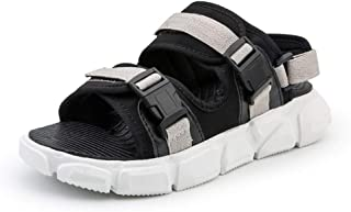 SHENLIJUAN Leisure Sandals for Men Open Toe Slippers Buckle Up Breathable Beach Shoes Hook&Loop Strap Elastic Cloth Lightweight Wear Resistant
