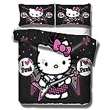 Juego de cama para niños Hello Kitty, ropa de cama para niña 3DHello Kitty, 1 funda nórdica y 2 fundas de almohada, para niña cama individual cama doble textiles para el hogar-I_200x230cm (3pcs)