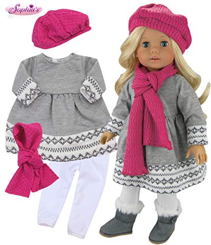 Sophia's Doll Clothes 4 Pc. Outfit fit for 18 Inch American Girl Dolls & More! Grey Fair Isle Style Doll Sweater Dress, Leggings, Scarf & Doll Pink Hat