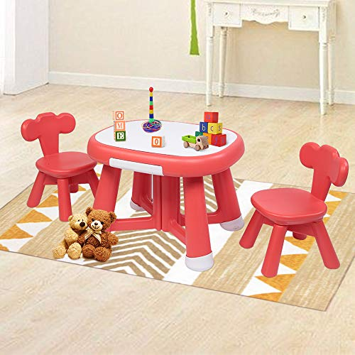 JOYMOR Kids Table and Chair Set with Drawer, Children Activity Table Set, Writable Table & 2 Chairs Multipurpose, Toddler Dining Table