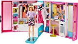 Barbie Dream Closet with Blonde Barbie Doll & 25+ Pieces, Toy Closet Expands to 2+ ft Wide & Features 10+ Storage Areas, Full-Length Mirror, Customizable Desk Space and Rotating Clothes Rack