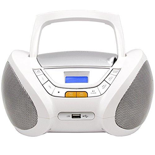 LAUSON CP443 CD Player USB | Stereoanlage Boombox | CD Radio Tragbar | Kinder Radio mit Cd Spieler | USB kopfhöreranschluss | Cd Player für Kinder (Weiß)