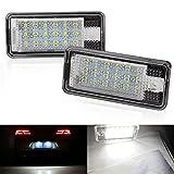2Pcs Xenon Blanco 18 SMD Licencia número Placa Luz, Lámpara de La Luz de La Matrícula del Coche LED Super Brillante 6000K Para A3 A4 A6 S6 Q7 A8 Auto Lámpara Interior