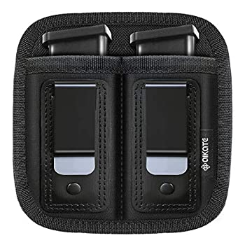 Universal Double Magazine Pouch for 9mm .40 .45 .380 .357 IWB Mag Holster Concealed Cary for Double Stack Mag Holder for Glock 19 43 17 1911 S&W M&P Fits Any 7 10 15 Round Clip for All Pistols Ammo