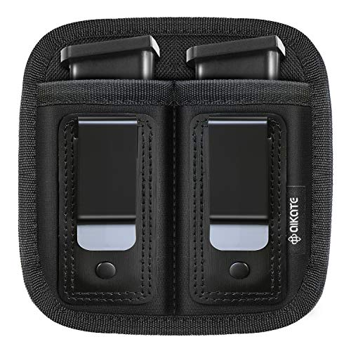 Universal Double Magazine Pouch for 9mm .40 .45 .380 .357, IWB Mag Holster Concealed Cary for Double Stack, Mag Holder for Glock 19 43 17 1911 S&W M&P, Fits Any 7 10 15 Round Clip for All Pistols Ammo