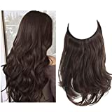 Dark Brown Hair Extension Short Synthetic Halo Hair Piece Curly Wavy 14 Inch 3.7 Oz Invisible Wire Headband for Women Heat Resistant Fiber No Clip SARLA(M04&6#)