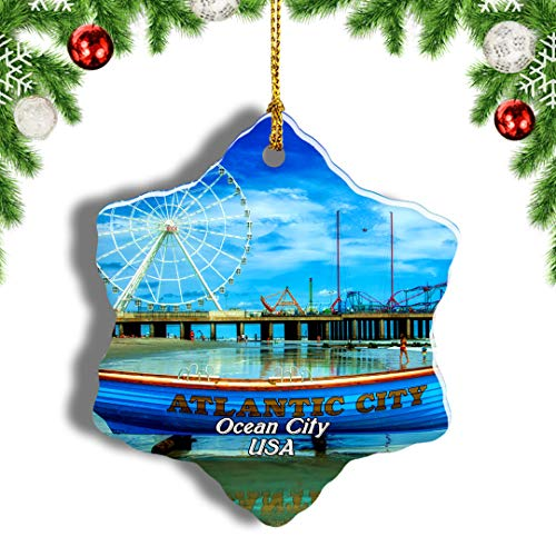 Weekino USA America Ocean City Boardwalk Christmas Ornament Travel Souvenir Tree Hanging Pendant Decoration Porcelain 787' Double Sided