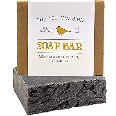 Dead Sea Mud Soap Bar - With Exfoliating Pumice Scrub & Detoxifying Charcoal. Organic & Natural Essential Oils. Made in USA for Men and Women. Face, Hand, Body Soap