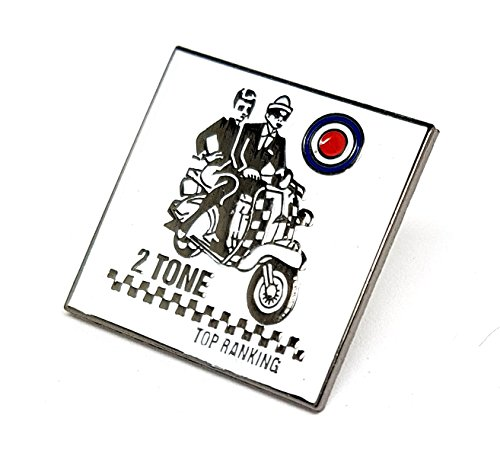 Ska Pärchen auf Roller, zweifarbig, Top-Ranking, MOD Scooter, Motorradfahrer, VESPA Lambretta, Metall, Emaille