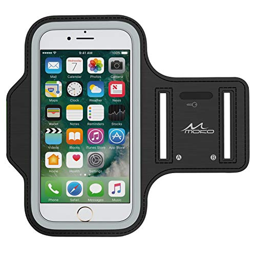 MoKo Phone Armband, Water Resistant Running Cell Phone Armband with Key Holder Adjustable Band Compitable with iPhone 11 Pro, X, Xs, 8, 7, 6, 6s, 5s, 5c, SE, 5, 4S,4 for Walking Fitness, Black