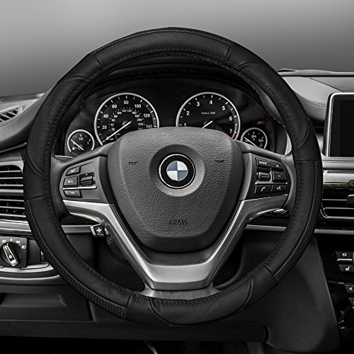 FH Group FH2002BLACK Steering Wheel Cover (Deluxe Full Grain...