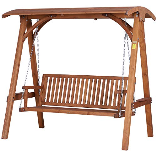 Outsunny 3 Seater Wooden Garden Swing Seat