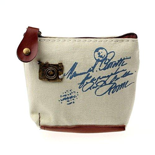 Sannysis® Retro ragazza sacchetto della moneta della borsa del raccoglitore della carta regalo caso Torre Eiffel Handbag (Beige)