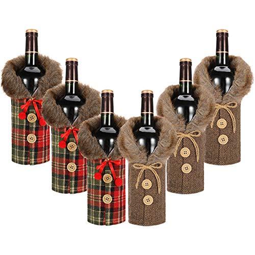 hellomagic - Set di 6 copribottiglia Natalizia, con Colletto e Bottoni, Decorazione per Feste di Natale