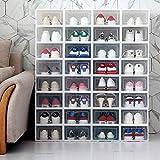 QPOWY 6PCS / Set Zapatos Flip engrosados Caja de cajones Transparente Cajas de Zapatos de plástico Caja apilable Caja de Almacenamiento Organizador de Almacenamiento de Zapatos