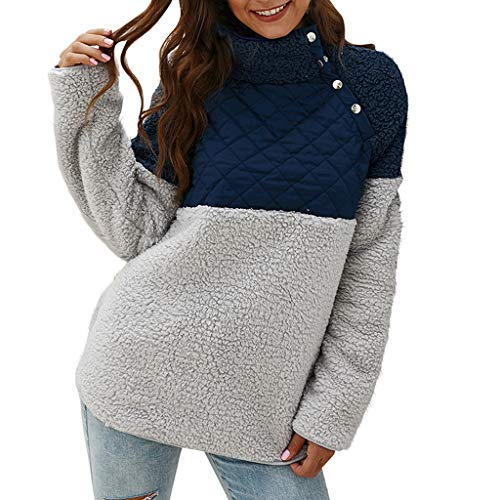 Kapian Pullover Herren Damen Stehkragen Plüsch Sweatshirt Teddy-Fleece Pullover mit Taschen
