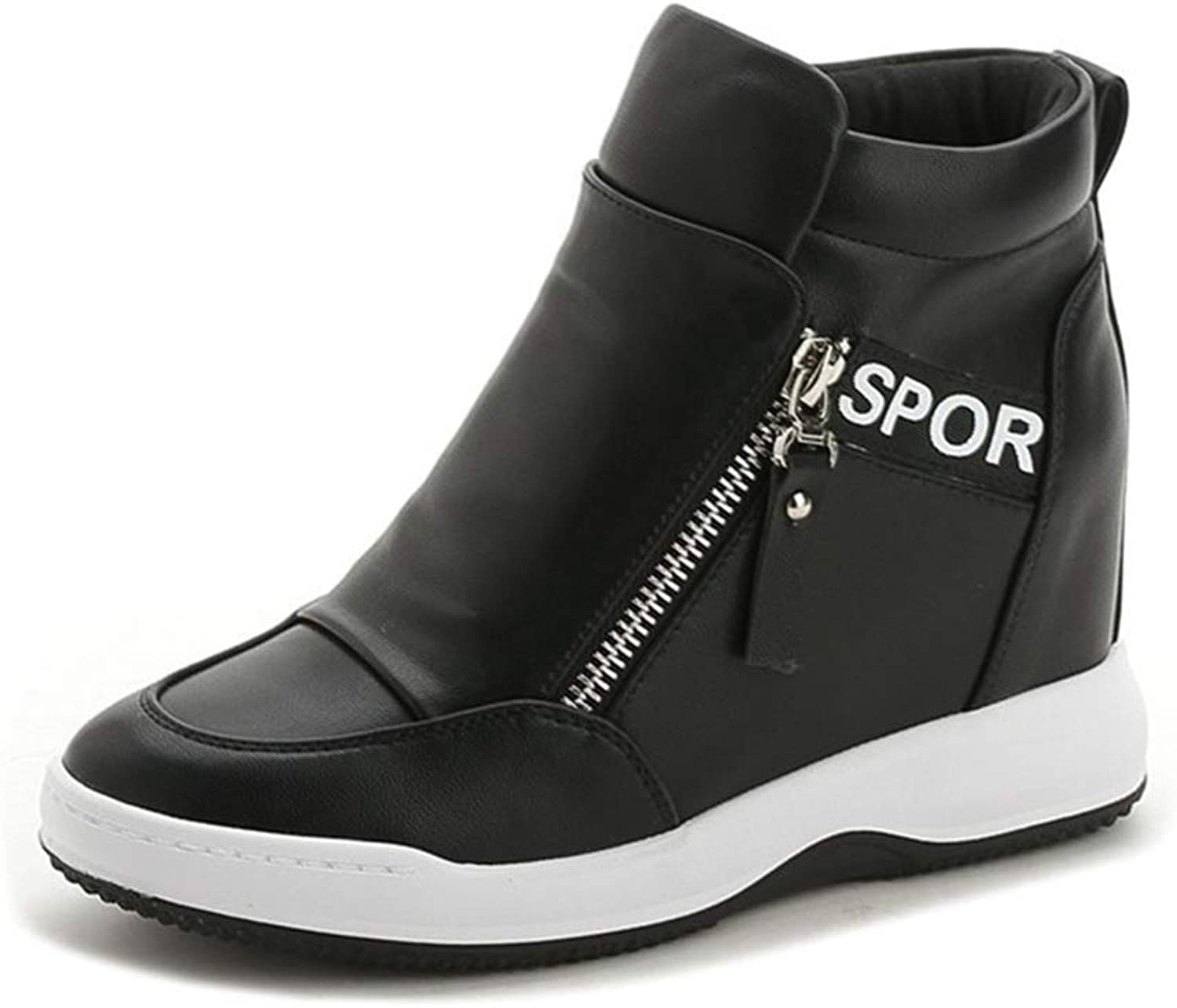 T-JULY Height Increasing Luxury shoes Women Designers Platform Sneakers shoes Wedges shoes for Women Black White silverformas