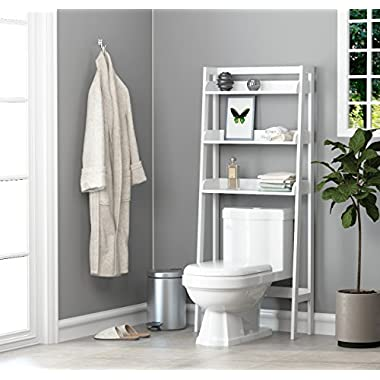 Utex 3-Shelf Bathroom Organizer over the Toilet, Bathroom Spacesaver, White Finish