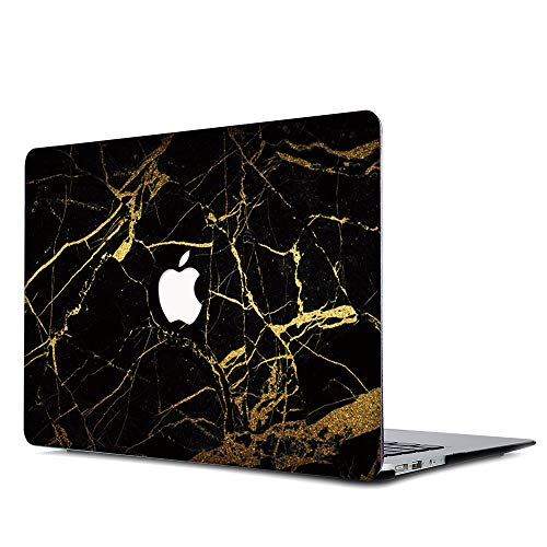 Gusumi Marble Pattern Rubberized Plastic Hard Case Shell Cover for Old MacBook Pro 13 Inch (A1278, with CD-ROM), Release Early 2012-2008, Black & Gold Marble
