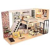 Puppenhaus Kit DIY Miniatur Loft handgefertigte Haus mit Zubehör staubdicht abdecken und montieren...