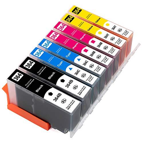 ESMOnline 8 kompatible XL Druckerpatronen (4 Farben) als Ersatz für HP 364 zu HP OfficeJet 4610, 4620; DeskJet 3520, 3070A B611; Photosmart Plus B209, B210; Photosmart Wireless B109, B110; Photosmart B010, B109, 5510, 5520, 6510, 6520, 7510, 7520