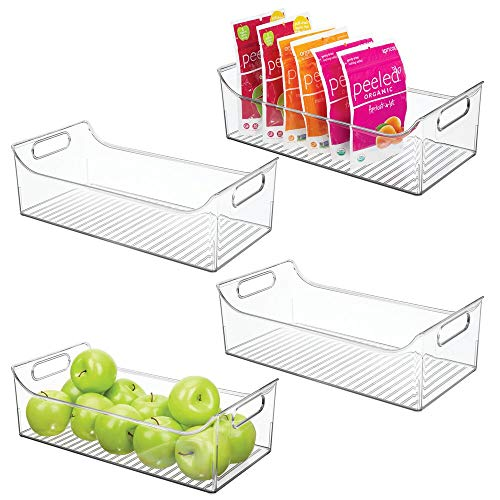 mDesign Wide Plastic Kitchen Pantry Cabinet Refrigerator or Freezer Food Storage Bin with Handles - Organizer for Fruit Yogurt Snacks Pasta - BPA Free 16 Long 4 Pack - Clear