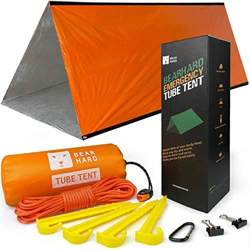 Bearhard Notfallzelt 2 Personen Wasserdicht, Ultraleicht Survival Zelt Einsatz als Notfall-Schlafsack oder Notfalldecke Erste Hilfe Kasten für Camping, Wandern, Rucksackwandern