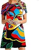 Womens Dresses Women's Short Sleeve Vintage Abstract Print Short Mini Dress Casual Summer Tunic T Shirt Dress