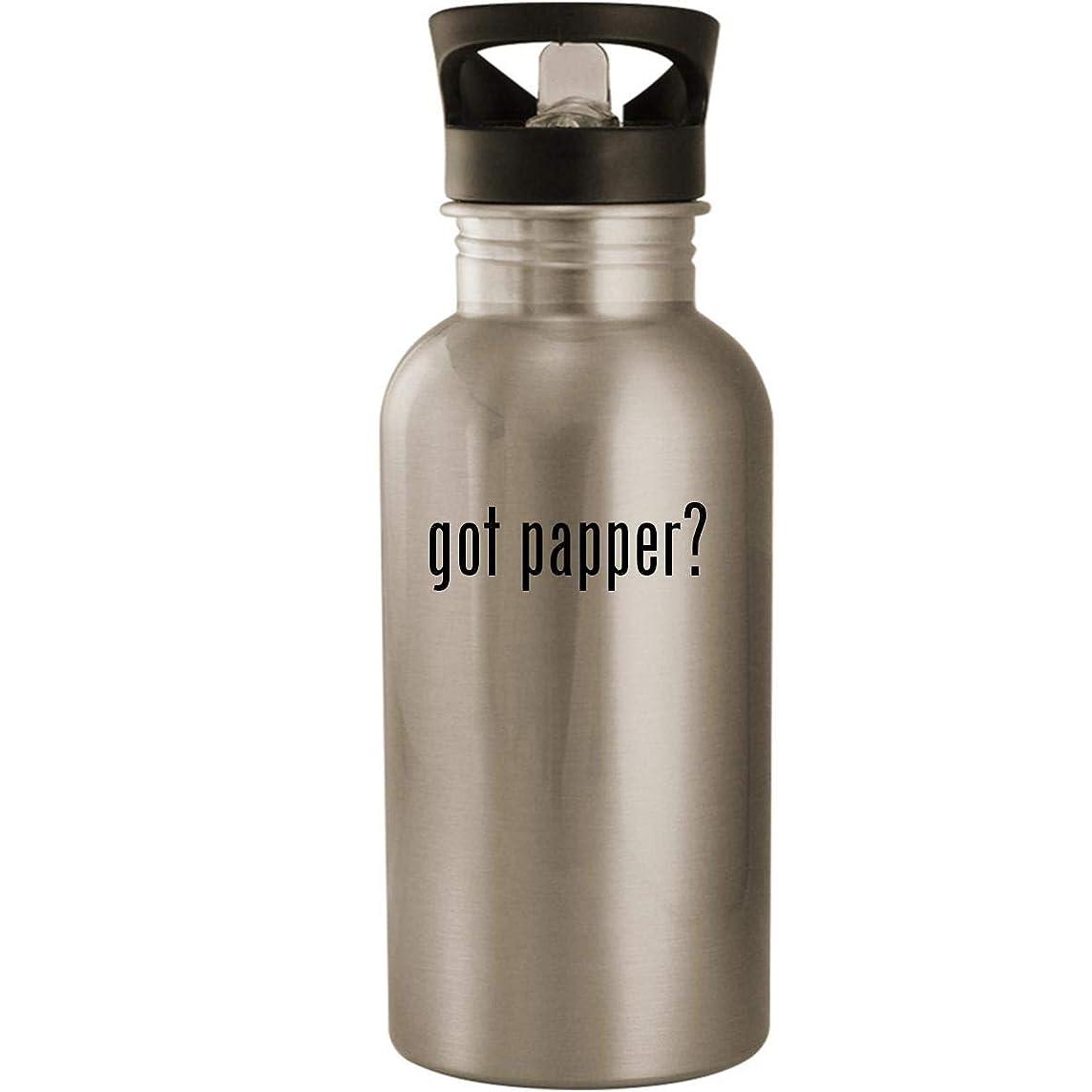 got papper? - Stainless Steel 20oz Road Ready Water Bottle, Silver