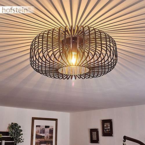 Deckenleuchte Wemude, runde Deckenlampe aus Metall in Schwarz/Gold, 1-flammig, E27-Fassung max. 60 Watt, Retro-Leuchte mit Lichteffekt durch Gitter-Optik, LED Leuchtmittel geeignet