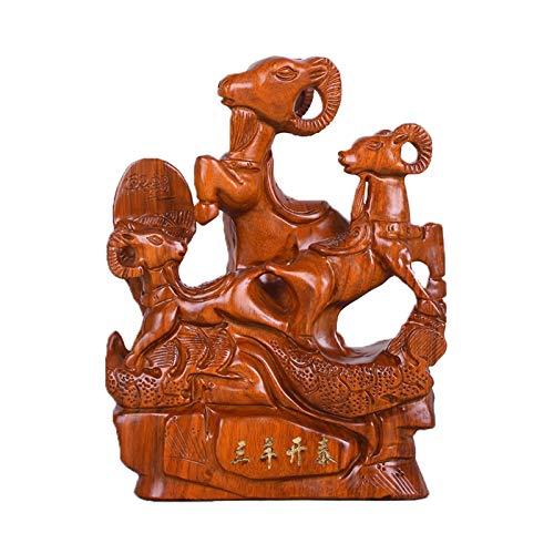 Escultura de Escritorio Chino Zodiaco Ovejas Feng Shui Ornamentos, Talla de madera hecha a mano Estatuas de animales Cabra Riqueza Estatuilla Escritorio Decoración Decoración de Oficina Creativa