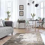 MyShop24h Alfombra para salón, color gris y dorado, 200 x 290 cm, cenefa con formas geométricas, pelo liso, vintage, alfombra suave para dormitorio, Oeko Tex 100, apta para alérgicos estándar