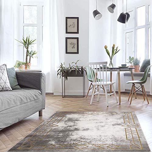 MyShop24h Alfombra para salón, color gris y dorado, 140 x 200 cm, cenefa con formas geométricas, pelo plano, estilo vintage, alfombra suave para dormitorio, Oeko Tex 100, apta para alérgicos estándar