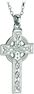 Celtic Cross Pendant for Men Irish Sterling Silver Single Sided Necklace Made in Ireland