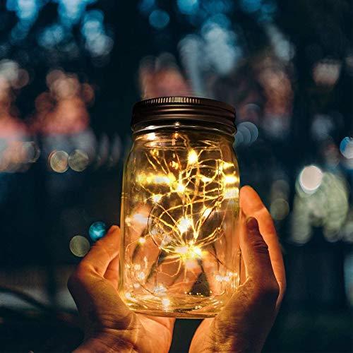OtooKing Solar Mason Jar String Light Lids, 4 Pack 30 LED Fairy Firefly String Light with Hooks (NO Jars) Waterproof Starry Lighting Solar Hanging Laterns Solar Lights Outdoor Lights Garden Decor