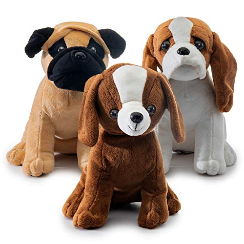 Prextex Plush Puppy Dogs - Set of 3 Realistic Looking 8-Inch Cute and Cozy Stuffed Animals