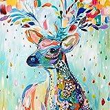 Hyllbb Diy Digital Leinwand-Ölgemälde Geschenk Für Erwachsene Kinder Malen Nach Zahlen Kits Home Haus Dekor - Flower Deer -40 * 50Cm,With Frame