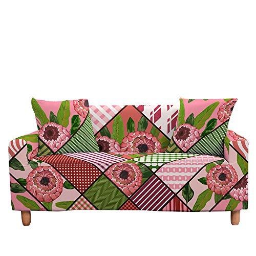 Surwin Funda de Sofá Elástica para Sofá de 1 2 3 4 plazas, Antideslizante Impresión Universal Cubierta de Sofá Cubre Cover Moda Sofá Funda Furniture Protector (geometría,3 plazas - 190-230cm)