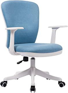 Muebles Silla ergonómica ergonómica para computadora de tela con respaldo medio, Silla de oficina de estudio Sillas de escritorio giratorias de lino, altura ajustable |Rotación de 360 °, en azul