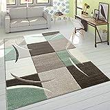 Designer Tappeto Moderno Taglio Sagomato Colori Pastello con Motivo A Quadri in Beige Verde, Dimensione:120x170 cm