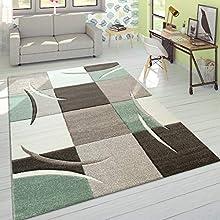 Alfombra De Diseño Moderna Contorneada En Colores Pastel con Estampado Cuadriculado En Beige Y Verde, tamaño:160x230 cm