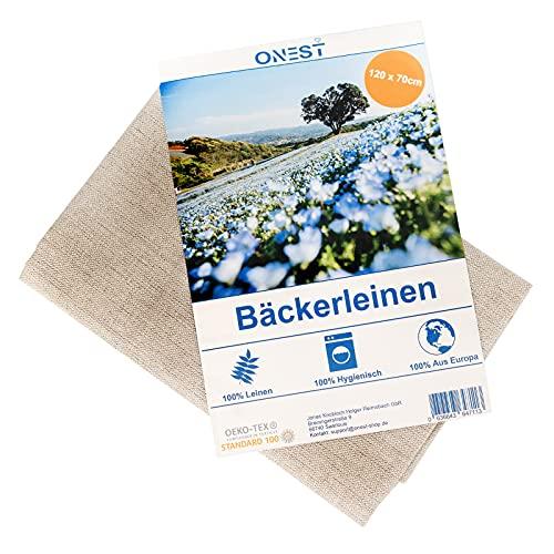 Onest Bäckerleinen (120 x 70cm) – Aus 100prozent Naturleinen gemäß Öko-Tex-100 – Leinentuch hergestellt in Europa – Mit extra hoher Webdichte für ideales Modellieren