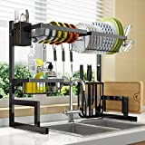 Dish Drying Rack Over Sink Adjustable (25.6'-33.5'),2 Tier Stainless Steel Length Expandable Kitchen Dish Rack,Large Dish Rack Drainer for Kitchen Organizer Storage Space Saver Utensils Holder