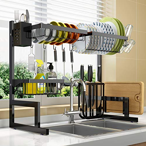 """Dish Drying Rack Over Sink Adjustable (25.6""""-33.5""""),2 Tier Stainless Steel Length Expandable Kitchen Dish Rack,Large Dish Rack Drainer for Kitchen Organizer Storage Space Saver with 10 Utility Hooks"""