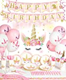 Decorlife Unicorn Party Supplies Serves 16, Cute Birthday Decorations for Girls, Complete Pack Include Photo Backdrop and Hanging Swirls, Total 163pcs
